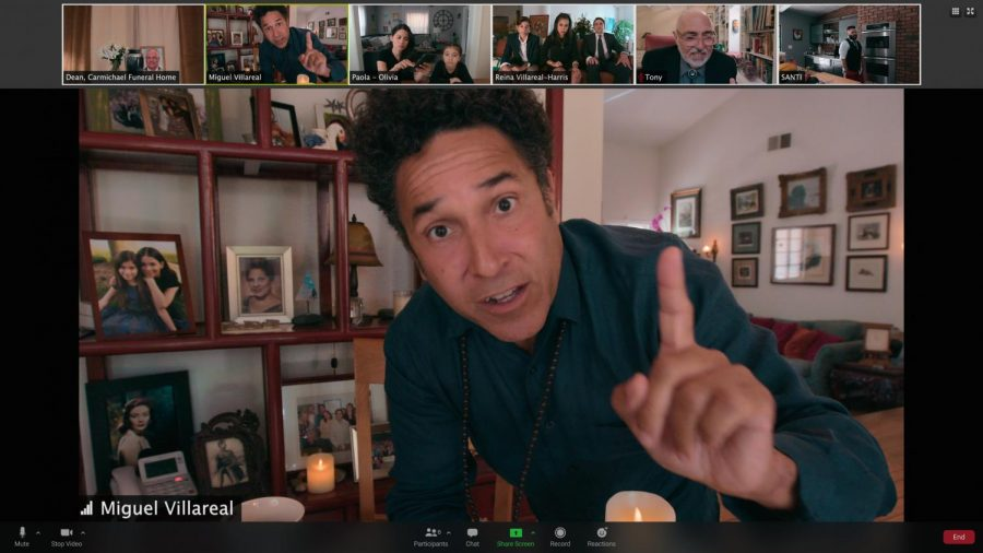 Miguel Villareal (Oscar Nunez) addresses his family during a virtual wake for a deceased member.