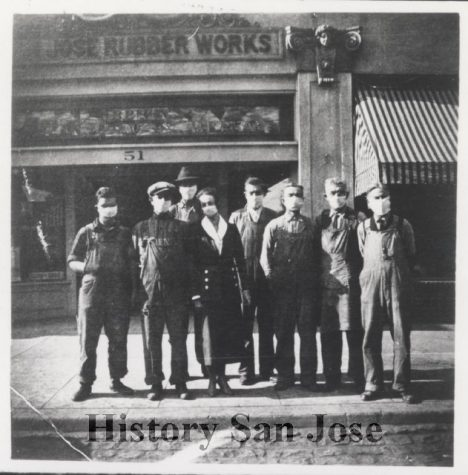 Masked employees of the San Jose Rubber Works during the influenza epidemic of 1918