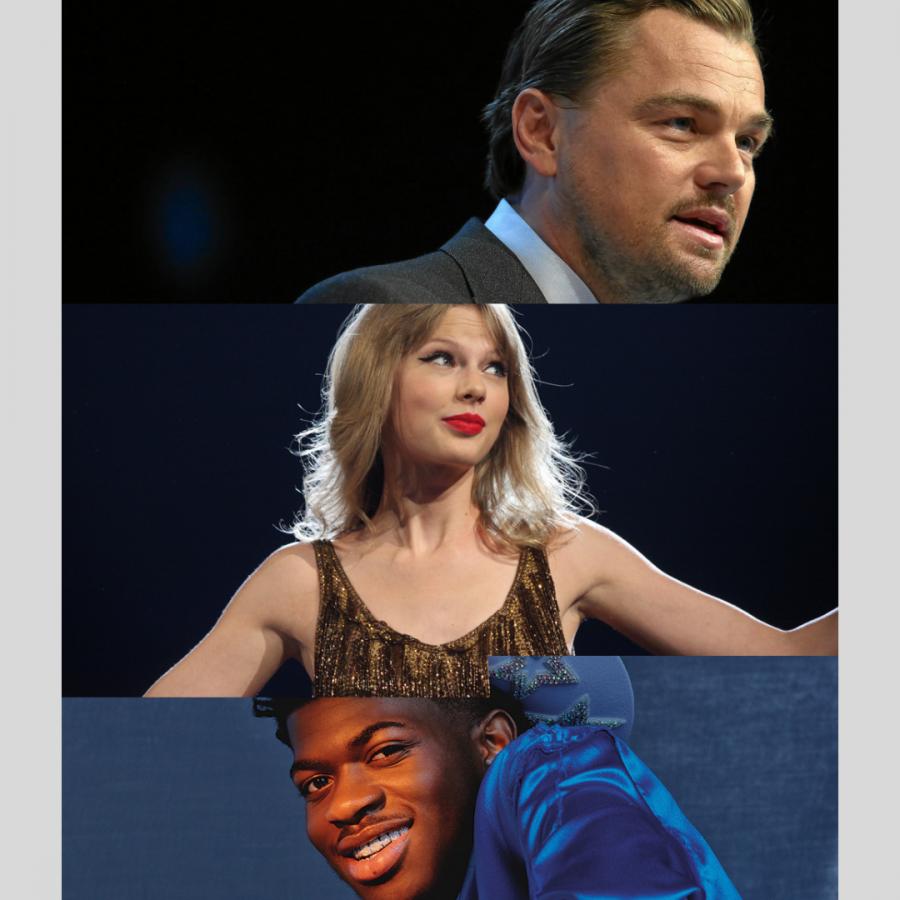 Lil Nas X photo courtesy of Variety News, Taylor Swift photo courtesy of Flicker under Flickr & CC BY-SA 2.0 and Leonardo DiCaprio photo courtesy of Climate Reality Project.