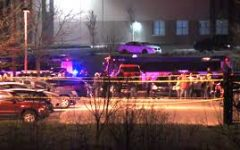 An active crime scene in which numerous police vehicles are shown and the area has been taped off.  Photo courtesy of ABC News